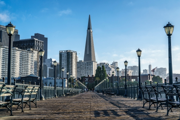 Transamerica Pyramid Looms above Pier 7 on the Embarcadero in Sa