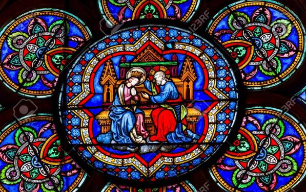 Virgin Mary Jesus Christ Stained Glass Notre Dame Cathedral Pari