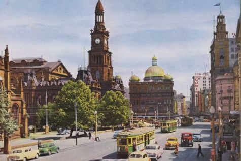 Trams on George St at Town Hall