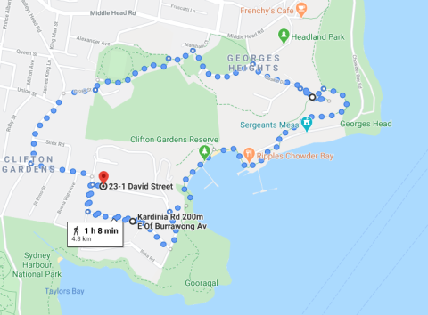 Georges Head to Clifton Gardens Walk