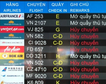 Flights cancelled in HCMC