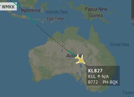 KL827 over Central Australia