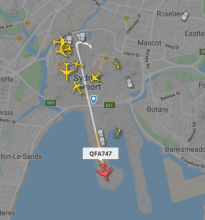 QF747 departs Sydney Airport via Flight Radar